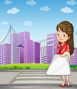 A woman in front of the tall buildings holding a gadget - stock illustration