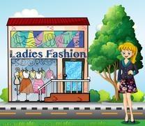 A lady in front of the ladies fashion store Stock Illustration