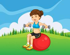 A girl exercising with a barbell and a bouncing ball - stock illustration