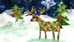 Christmas Eve - a Mixed Media Animation. Quirky collage style Stock Footage
