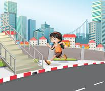 Stock Illustration of A girl running at the street near the stairs