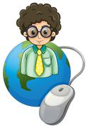 Stock Illustration of A globe with a curly-haired man wearing an eyeglass
