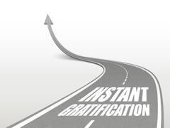 Instant gratification words on highway road Stock Illustration