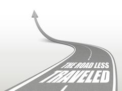 The road less traveled words on highway road Stock Illustration