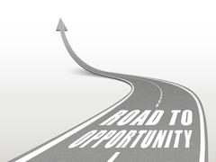 Stock Illustration of road to opportunity words on highway road