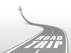Stock Illustration of road trip words on highway road