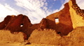 Chaco Culture 41 Raven fly by Pueblo Bonito Native American Ruins Tilt Up Footage