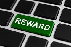 Reward button on keyboard Stock Photos