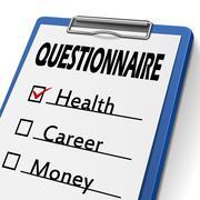 questionnaire clipboard - stock illustration