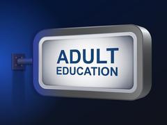 adult education words on billboard - stock illustration