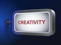 Stock Illustration of creativity word on billboard