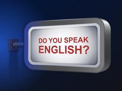 Stock Illustration of do you speak english words on billboard