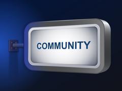 Community word on billboard Stock Illustration