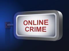 Stock Illustration of online crime words on billboard