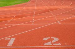 Red treadmill at the stadium Stock Photos