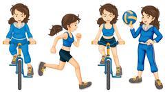 Active teenagers Stock Illustration