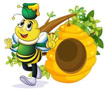 A bee with a pot above its head near the beehive Piirros
