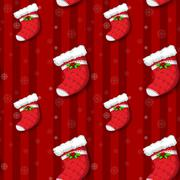 A seamless design with christmas stockings Stock Illustration
