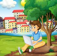 A young boy using the laptop under the tree at the riverbank - stock illustration