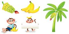 Bananas and monkeys with an empty signboard Stock Illustration