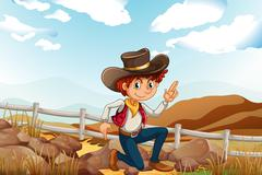 Stock Illustration of A young explorer at the hilltop near the rocks