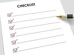 tick placed in check box with fountain pen - stock illustration