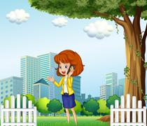 Stock Illustration of A lady using a cellular phone outside the office