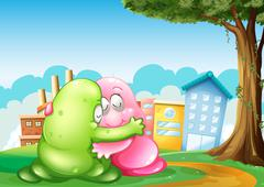 Two monsters at the hilltop hugging each other near the tree - stock illustration