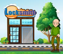 An old man standing in front of the locksmith building - stock illustration