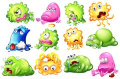 Sad and dying monsters Stock Illustration