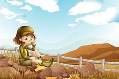 A female explorer sitting above the rock near the fence Stock Illustration