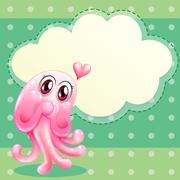 A lovable pink monster with an empty cloud template - stock illustration