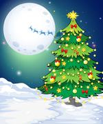 A tall christmas tree standing in a snowy area Stock Illustration