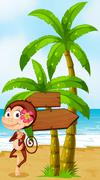 A monkey in a hawaiian attire dancing near the wooden arrowboard - stock illustration
