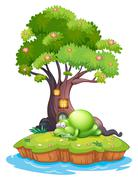 A monster sleeping under the treehouse in the island - stock illustration