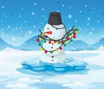 A snowman above an iceberg with a pail above its head - stock illustration
