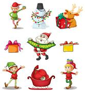 Nine different christmas decors - stock illustration