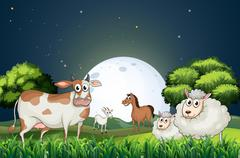 Animals at the forest strolling in the middle of the night Stock Illustration