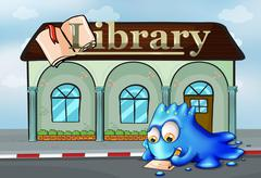 Stock Illustration of A monster writing in front of the library