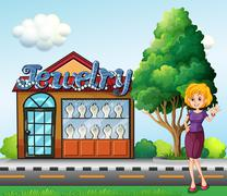 A woman standing  across the jewelry shop - stock illustration