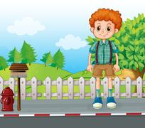 A tall man standing at the street Stock Illustration