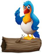 Stock Illustration of A parrot above a log