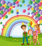 Stock Illustration of A family below the floating balloons with a rainbow