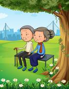 Two old couple at the park - stock illustration