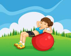 A young lady exercising with a bouncing ball in the hill - stock illustration