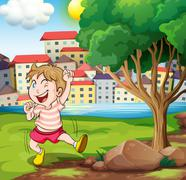 A happy kid near the tree at the riverbank beside the tall buildings Stock Illustration