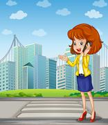 A lady with a cellphone standing at the pedestrian lane - stock illustration