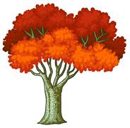 A tree with red leaves - stock illustration