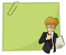 A handsome young businessman in front of an empty signage - stock illustration