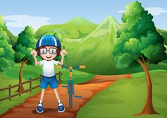Stock Illustration of A happy child with a bike at the pathway with a wooden fence